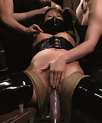Sexy latex girl tied, humiliated and fucked