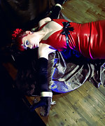 Red latex dress and rope bondage